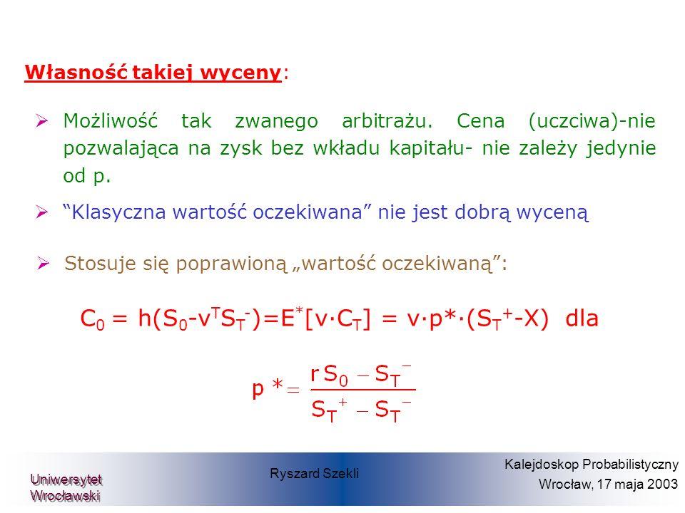C0 = h(S0-vTST-)=E*[v·CT] = v·p*·(ST+-X) dla